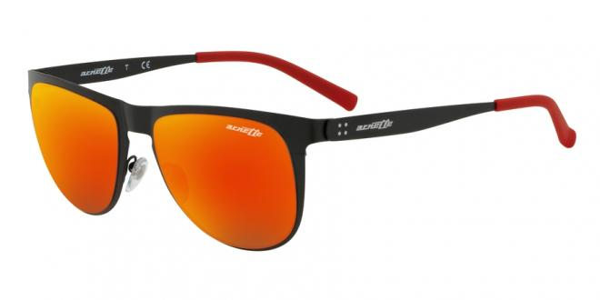 ARNETTE AN3077-501//6Q SUNGLASSES MATTE BLACK GREY MIRROR RED//YELLOW 55MM